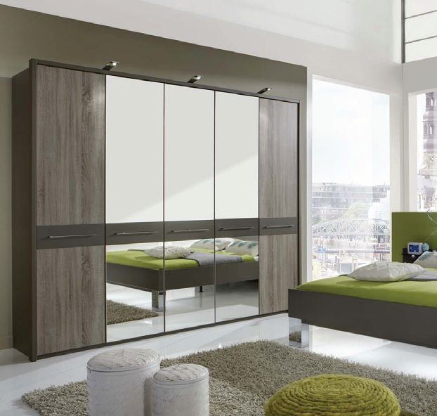 Wiemann Ancona Havana with Dark Rustic Oak 5 Door Wardrobe with Carcase Colour Cross Trims - W 250cm