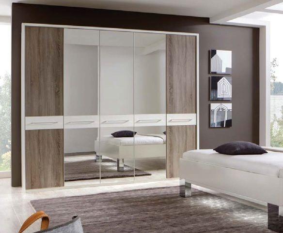 Wiemann Ancona White with Dark Rustic Oak 3 Door Wardrobe with Carcase Colour Cross Trims - W 150cm