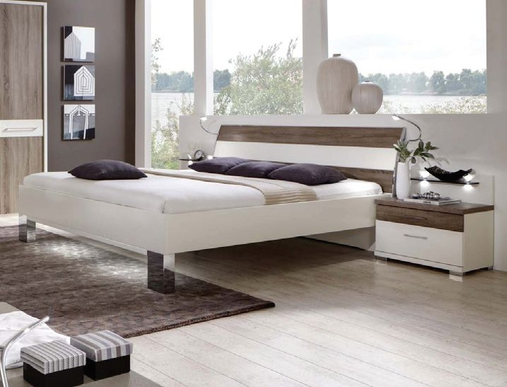 Wiemann Ancona White with Dark Rustic Oak 6ft Queen Size Futon Bed with Chrome Square Feet - 180cm x 200cm