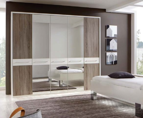 Wiemann Ancona White with Dark Rustic Oak 7 Door 3 Mirror Wardrobe with Carcase Colour Cross Trims - W 350cm