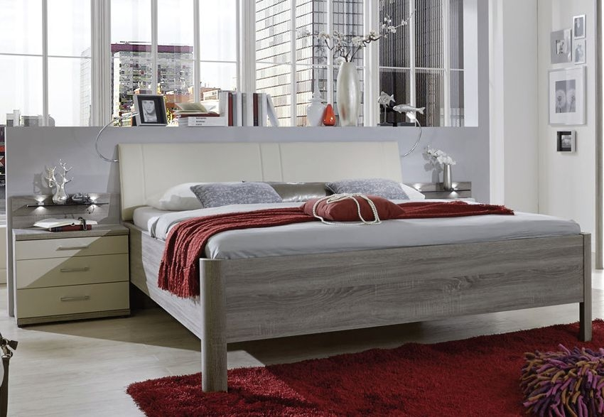Wiemann Andorra 6ft Queen Size Leather Cushion 48cm Bedside Height Bed in Dark Rustic Oak and Champagne - 180cm x 200cm