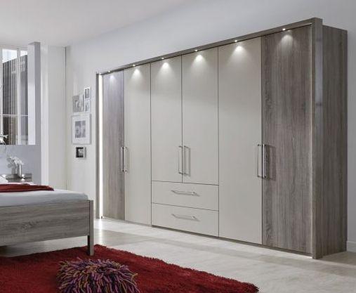 Wiemann Andorra 5 Door 2 Drawer 1 Mirror Wardrobe in Dark Rustic Oak and Champagne - W 250cm