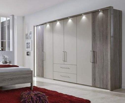 Wiemann Andorra 6 Door 2 Drawer 2 Mirror Wardrobe in Dark Rustic Oak and Champagne - W 300cm
