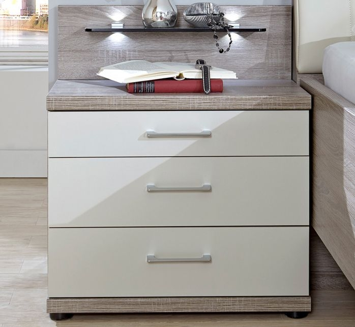 Wiemann Andorra 8 Drawer Chest in Dark Rustic Oak and Champagne