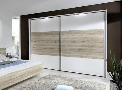 Wiemann Arizona 2 Door Sliding Wardrobe in White and Santana Oak - W 250cm