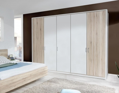 Wiemann Arizona 5 Door Wardrobe in White and Santana Oak - W 250cm
