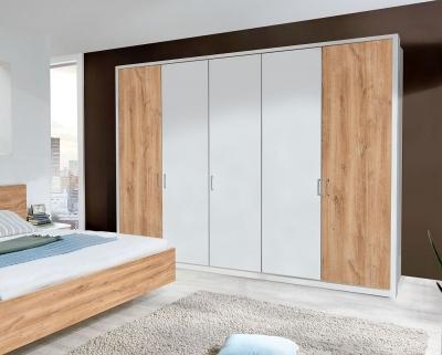 Wiemann Arizona 5 Door Wardrobe in White and Timber Oak - W 250cm