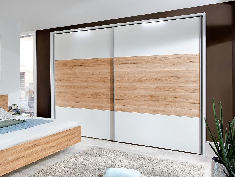 Wiemann Arizona 2 Door Sliding Wardrobe in White and Timber Oak - W 300cm