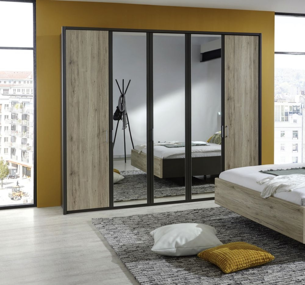 Wiemann Arizona Havana with Santana Oak 4 Door 2 Mirror Wardrobe - W 200cm