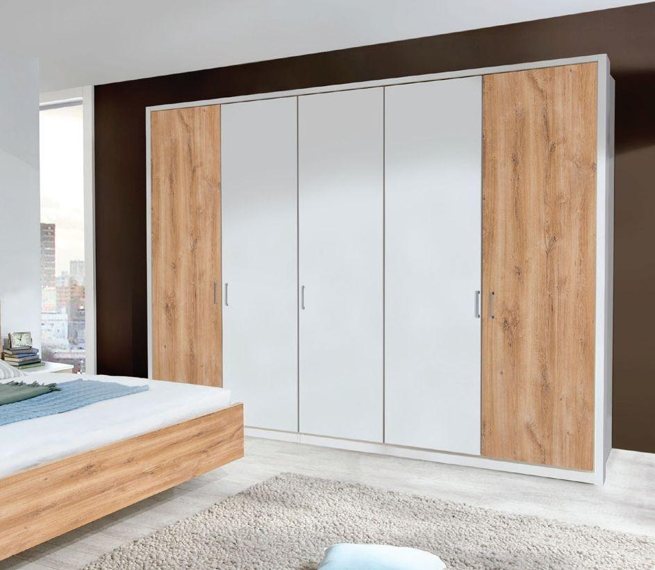 Wiemann Arizona White 5 Door Wardrobe with 3 Door Timber Oak Colour - W 250cm