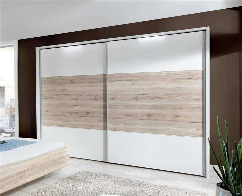 Wiemann Arizona White with Santana Oak 2 Door Sliding Wardrobe - W 200cm