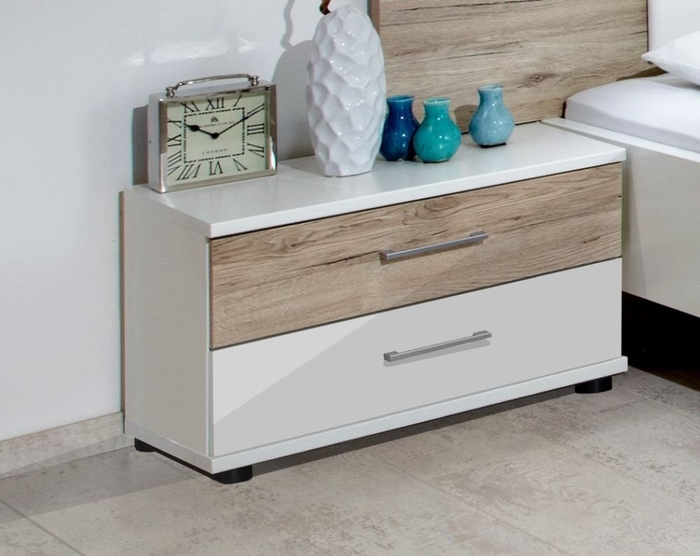 Wiemann Arizona White with Santana Oak Bedside Cabinet - 2 Drawer