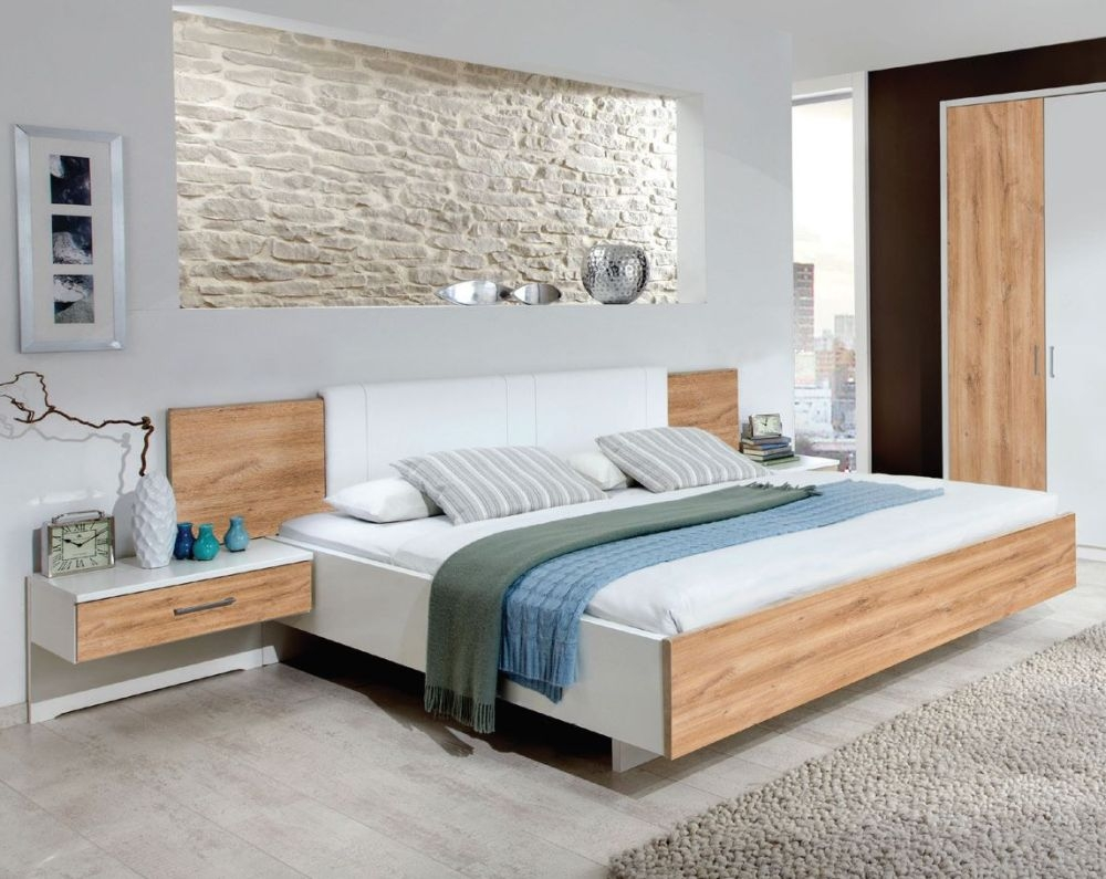 Wiemann Arizona White with Timber Oak 6ft Queen Size Bed - 180cm x 200cm