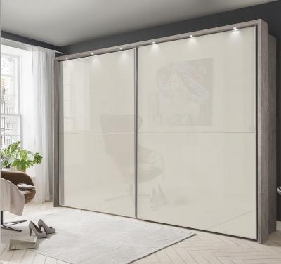 Wiemann Berlin 2 Door Sliding Wardrobe in Oak and Magnolia Glass - W 300cm
