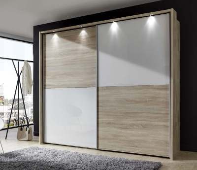 Wiemann Berlin 2 Door Sliding Wardrobe in Oak and White Glass - W 250cm