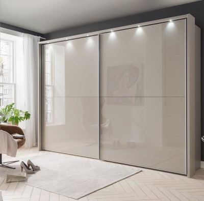 Wiemann Berlin 2 Door Sliding Wardrobe in Pebble Grey Glass - W 300cm
