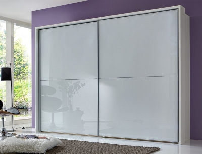 Wiemann Berlin 2 Door Sliding Wardrobe in White Glass - W 300cm