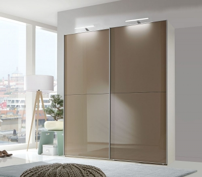 Wiemann Berlin 2 Door Sliding Wardrobe in White and Sahara Glass - W 150cm