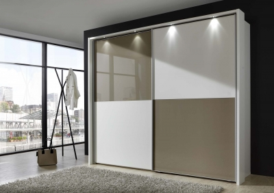 Wiemann Berlin 2 Door Sliding Wardrobe in White and Sahara Glass - W 250cm