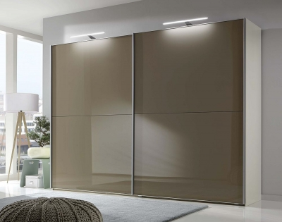 Wiemann Berlin 2 Door Sliding Wardrobe in White and Sahara Glass - W 300cm