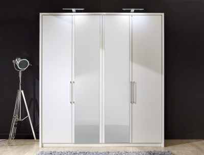 Wiemann Berlin 4 Door Wardrobe in White Glass - W 200cm