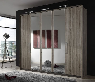 Wiemann Berlin 5 Door Mirror Wardrobe in Dark Rustic Oak - W 250cm