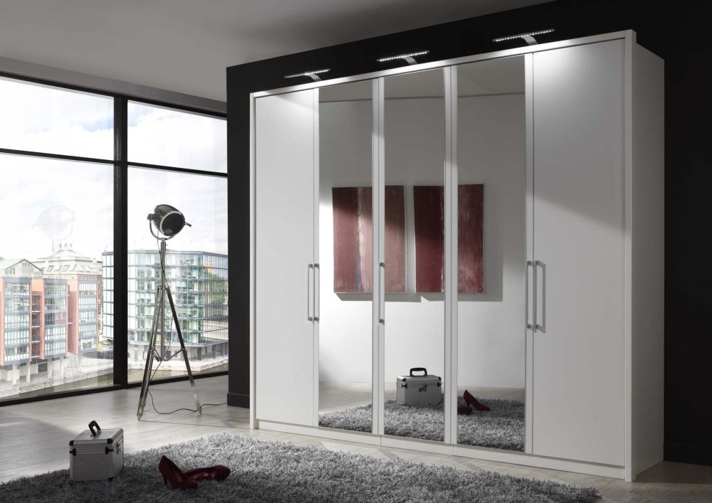 Wiemann Berlin 1 Door Mirror Wardrobe in White - W 50cm (Left)