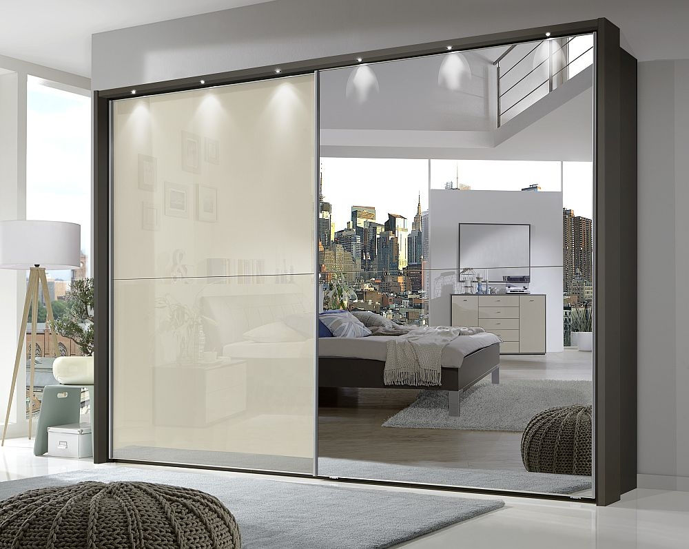 Wiemann Berlin 2 Door Mirror Sliding Wardrobe in Havana and Magnolia Glass - W 300cm
