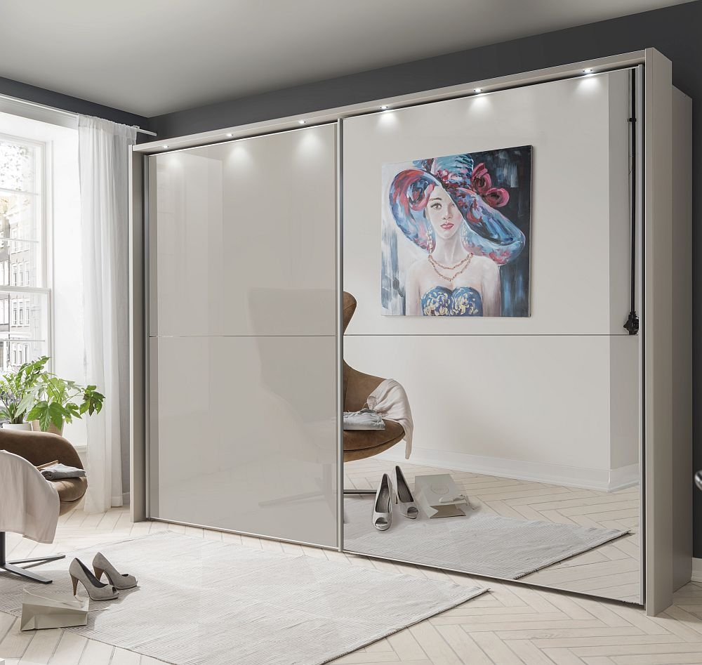 Wiemann Berlin 2 Door Mirror Sliding Wardrobe in Pebble Grey Glass - W 300cm