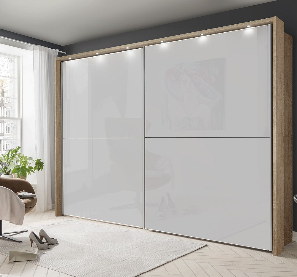 Wiemann Berlin 2 Door Sliding Wardrobe in Oak and White Glass - W 300cm