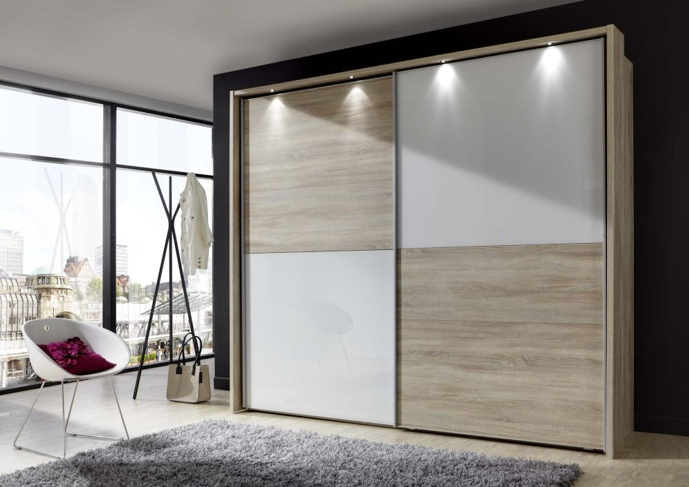 Wiemann Berlin 2 Door Sliding Wardrobe in Rustic Oak and White Glass - W 150cm