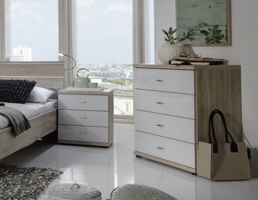 Wiemann Berlin 2 Drawer Bedside Cabinet in Rustic Oak and White