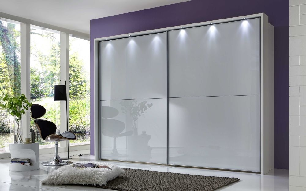 Wiemann Berlin 2 Glass Door Sliding Wardrobe in Pebble Grey - W 150cm