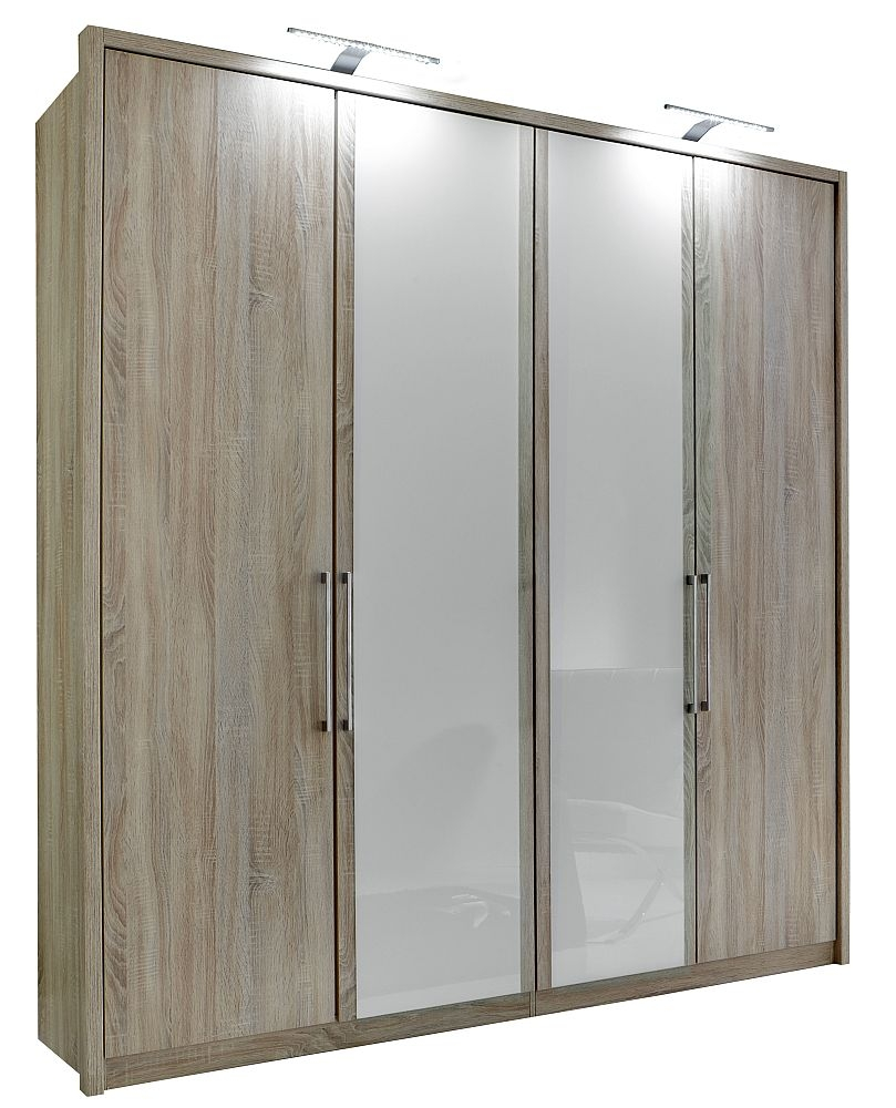 Wiemann Berlin 4 Door Wardrobe in Oak and White Glass - W 200cm