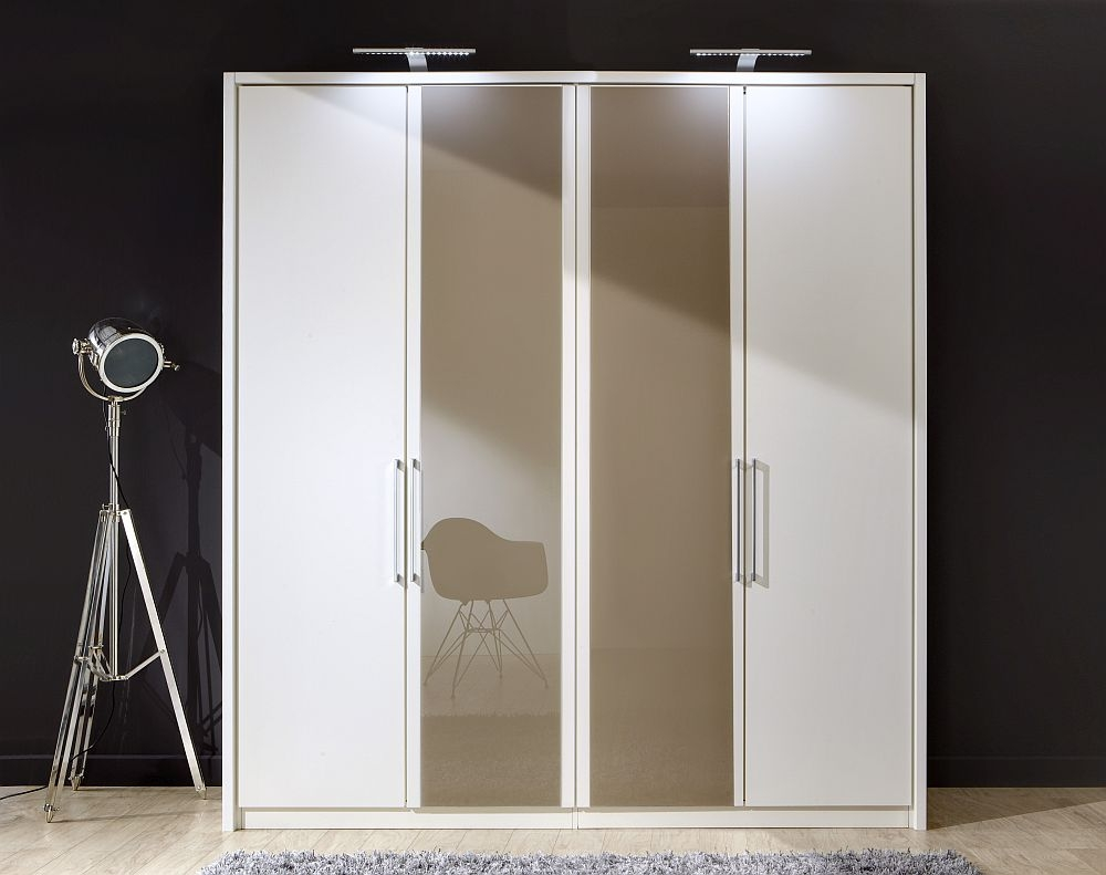 Wiemann Berlin 4 Door Wardrobe in White and Sahara Glass - W 200cm