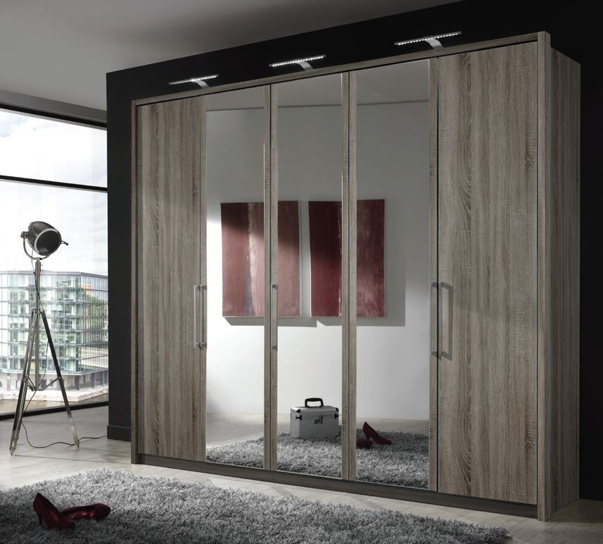 Wiemann Berlin 5 Door 1 Mirror Wardrobe in Dark Rustic Oak - W 250cm