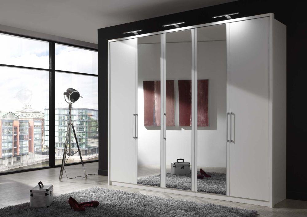 Wiemann Berlin 5 Door 3 Mirror Wardrobe in White - W 250cm