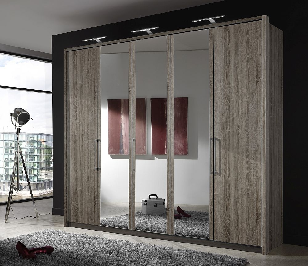 Wiemann Berlin 5 Door Mirror Wardrobe in Dark Rustic Oak - W 250cm