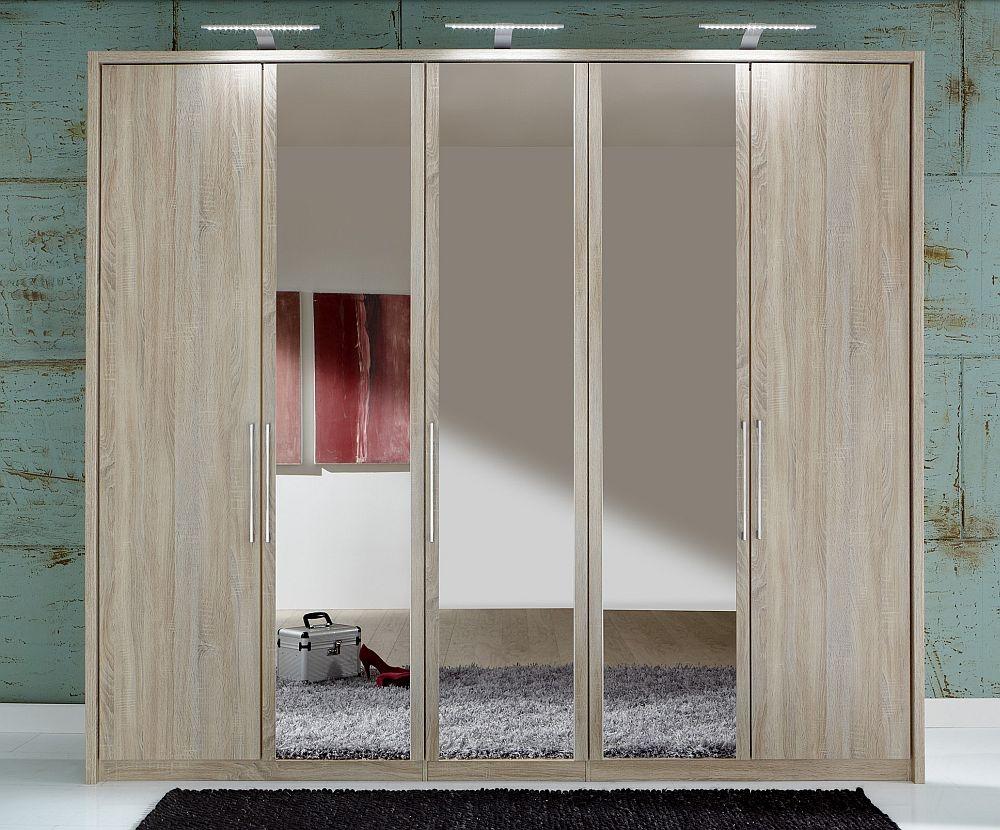 Wiemann Berlin 5 Door Mirror Wardrobe in Oak - W 250cm