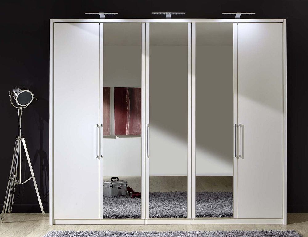 Wiemann Berlin 5 Door Mirror Wardrobe in White - W 250cm
