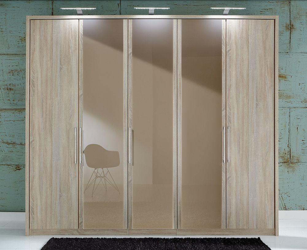 Wiemann Berlin 5 Door Wardrobe in Oak and Sahara Glass - W 250cm