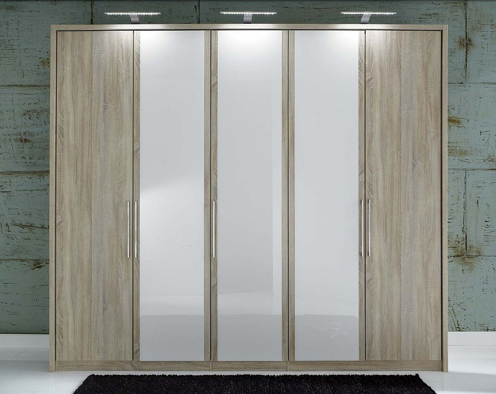 Wiemann Berlin 5 Door Wardrobe in Oak and White Glass - W 250cm