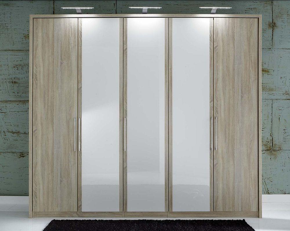 Wiemann Berlin 5 Door Wardrobe in Oak and White Glass - W 250cm