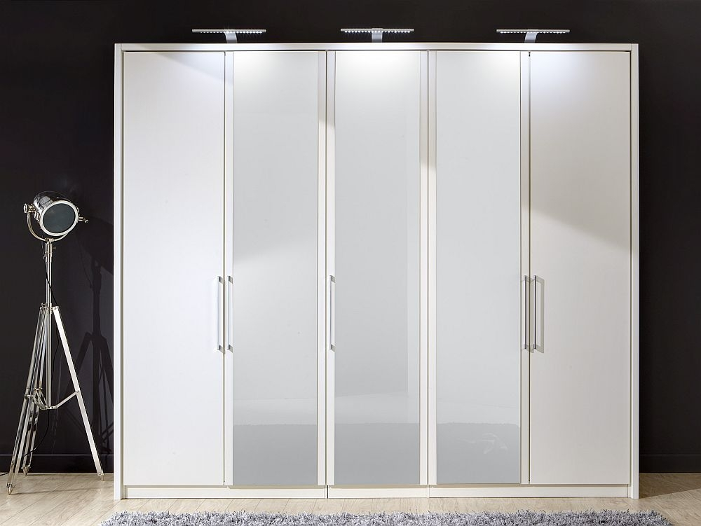 Wiemann Berlin 5 Door Wardrobe in White Glass - W 250cm