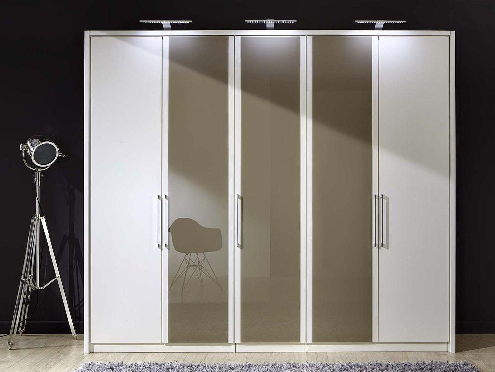 Wiemann Berlin 5 Door Wardrobe in White and Sahara Glass - W 250cm