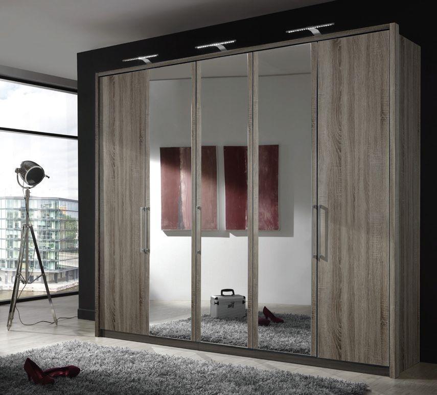 Wiemann Berlin 6 Door 2 Mirror Wardrobe in Dark Rustic Oak - W 300cm