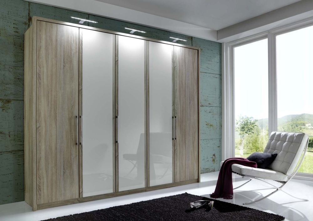 Wiemann Berlin 6 Pebble Grey Glass Door Wardrobe in Rustic Oak - W 300cm
