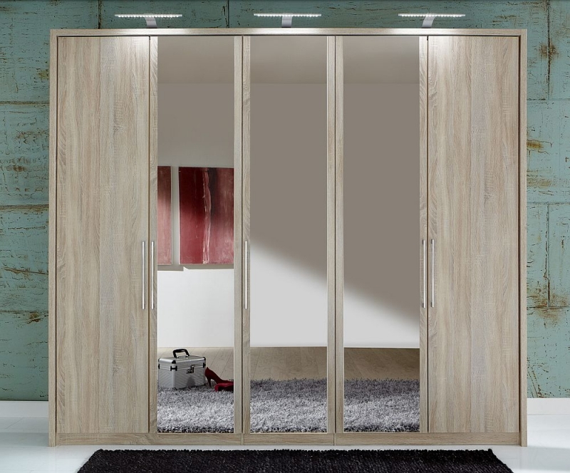 Wiemann Berlin 5 Door Mirror Wardrobe in Oak - W 250cm