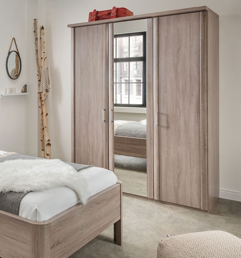 Wiemann Bern 3 Door Mirror Wardrobe in Rustic Oak - W 150cm
