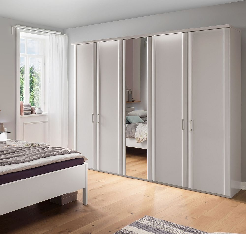 Wiemann Bern 5 Door Mirror Wardrobe in White - W 250cm